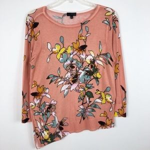 The Limited Floral Asymmetrical Crew Neck Sweater